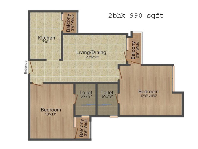 logix blossom greens 2bhk 990 sqft