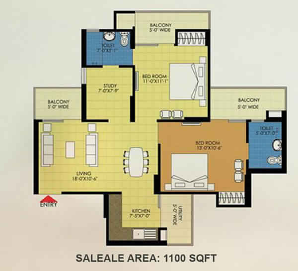trident embassy 2bhk 1100 sqft