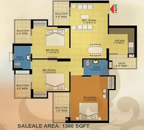 trident embassy 3bhk 1300 sqft