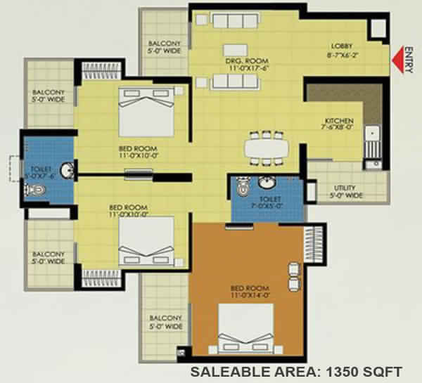 trident embassy 3bhk 1350 sqft