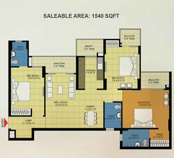 trident embassy 3bhk 1550 sqft