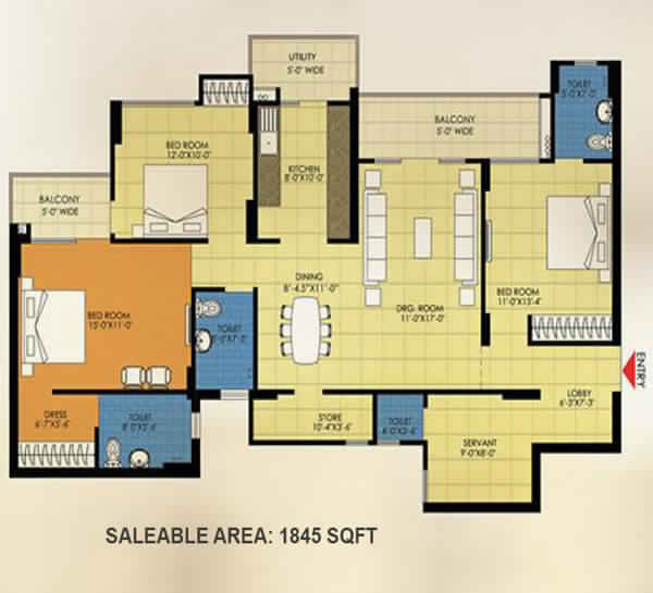trident embassy 4bhk 1845 sqft